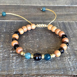 Bracelets - Sandalwood, Smoky Quartz And Moss Agate Adjustable Wrist Mala And Necklace Set