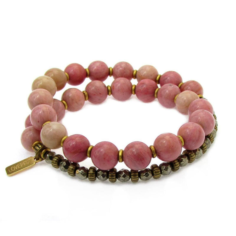 Bracelets - Self Love And Confidence, Rhodochrosite And Pyrite 27 Bead Wrap Mala Bracelet