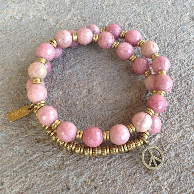 Bracelets - Self Love, Faceted Rhodochrosite 27 Bead Wrap Mala Bracelet