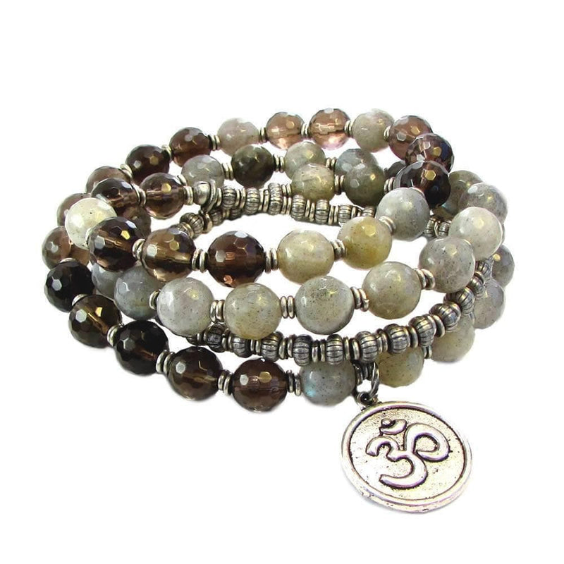 Bracelets - Serendipity And Positivity, Faceted Labradorite And Smoky Quartz 54 Bead Convertible Wrap Mala Bracelet Or Necklace