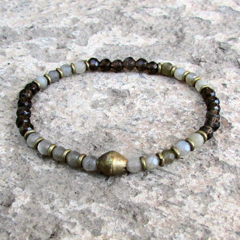 Bracelets - Serendipity And Positivity, Fine Faceted Labradorite And Smoky Quartz Bracelet