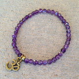 "Bracelets - Seventh Chakra, Fine Faceted Amethyst ""Healing"" Gemstone Bracelet With Om Charm"