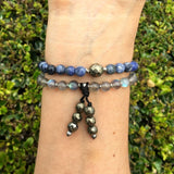 "Bracelets - Sodalite, Labradorite And Pyrite, ""Peace And Serendipity"" 54 Bead Wrap Mala Bracelet"