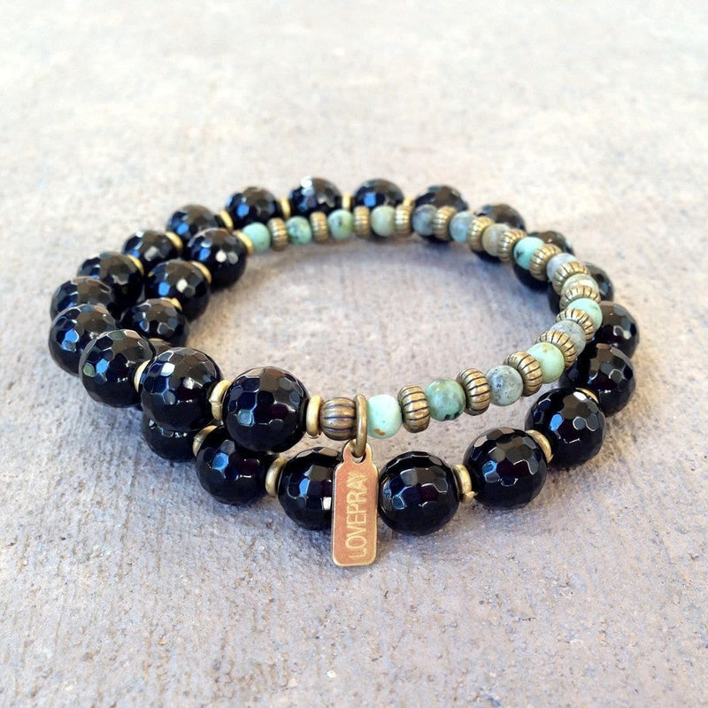Bracelets - Soothing And Change, Onyx And African Turquoise 27 Bead Wrap Mala Bracelet