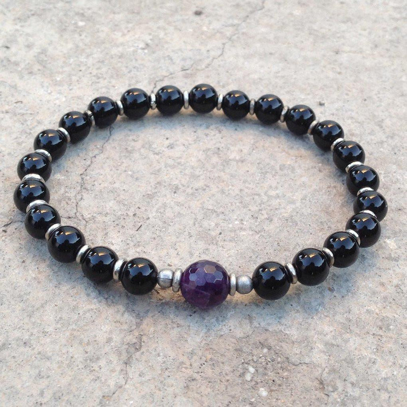 Bracelets - Soothing And Patience, Genuine Onyx And Amethyst Mala Bracelet