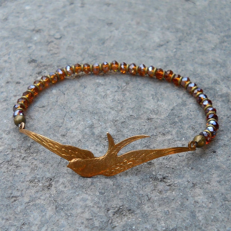Bracelets - Sparrow Bangle, Topaz Crystal And African Trade Beads Bracelet