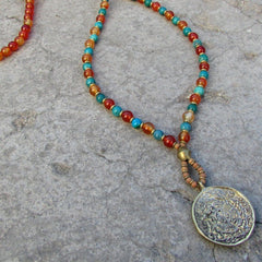 Bracelets - Stability And Communication, Carnelian And Turquoise 108 Bead Mala Necklace With Tibetan Pendant