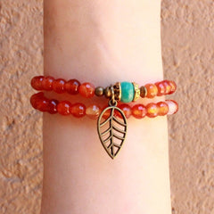 Bracelets - Stability And Communication, Multitone Carnelian And Turquoise 54 Bead Wrap Mala Bracelet With Turquoise Bead
