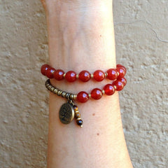Bracelets - Stability, Genuine Carnelian Gemstone 27 Bead Mala Wrap Bracelet™ With Tree Of Life Charm