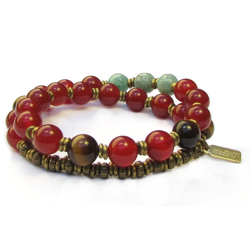 Bracelets - Stability, Genuine Carnelian, Tiger's Eye And Amazonite 27 Bead Wrap Mala Bracelet