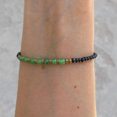 Bracelets - Strength And Balance, Ebony And Aventurine Mala Bracelet With African Trade Beads
