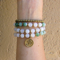 Bracelets - Strength And Calm, White Agate And Sardonyx 54 Bead Convertible Wrap Mala Bracelet Or Necklace