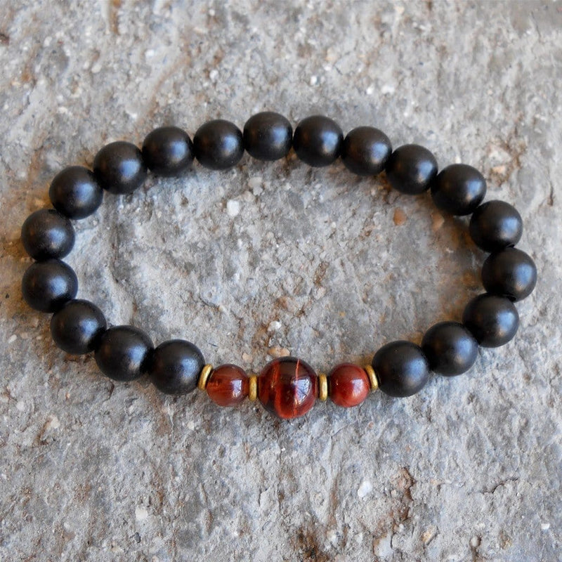 Bracelets - Strength And Prosperity, Ebony And Red Tiger Eye Mala Bracelet