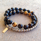 Bracelets - Strength And Prosperity, Ebony And Tiger's Eye 27 Beads Unisex Mala Bracelet