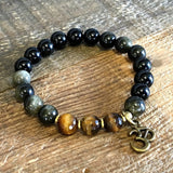Bracelets - Strength And Prosperity' Green Obsydian And Tiger's Eye Bracelet With Om Charm