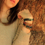 Bracelets - Strength, Ebony And Obsydian 27 Bead Unisex Wrap Mala Bracelet