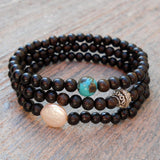 Bracelets - Strength, Ebony Set With Freshwater Pearl And Turquoise Guru Beads