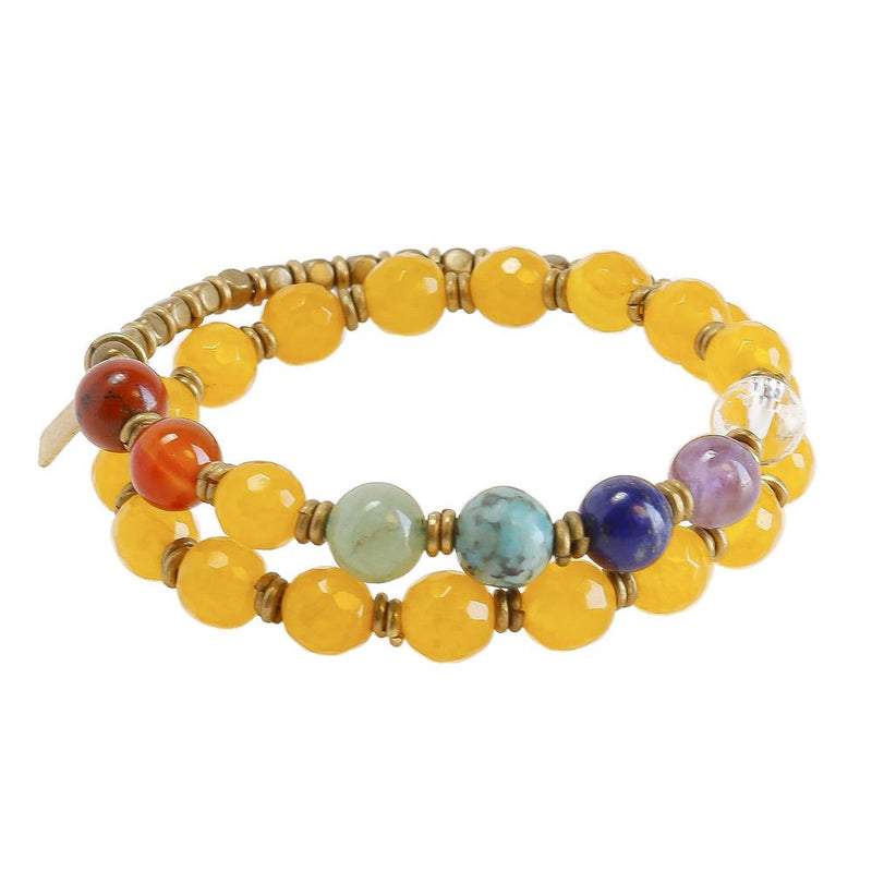 Bracelets - Third Chakra, Genuine Yellow Jade And Chakra Gemstones 27 Bead Wrap Mala Bracelet