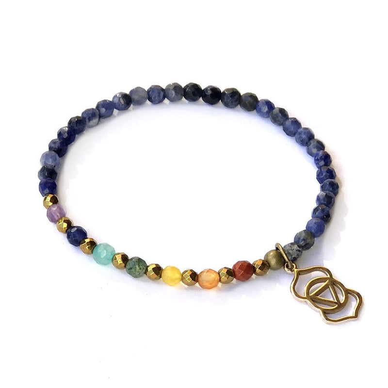 Bracelets - Third Eye Chakra Delicate Bracelet, With Chakra Gemstones And Sodalite