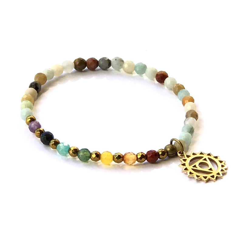 Bracelets - Throat Chakra Delicate Bracelet, With Chakra Gemstones And Amazonite
