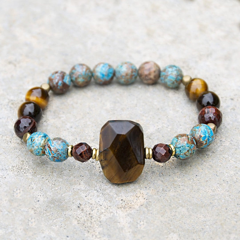 Bracelets - Tiger's Eye And Agate Gemstone Bracelet