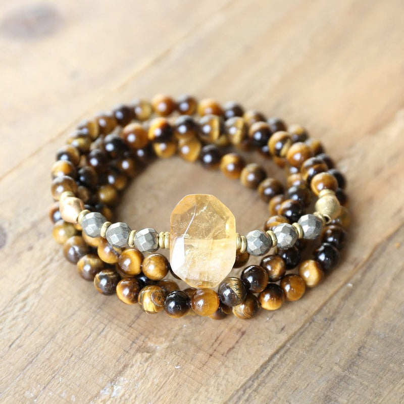 Bracelets - Tigers Eye And Citrine Mala Bracelet