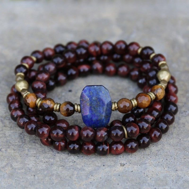 Bracelets - Tigers Eye And Lapis Lazuli Mala Necklace