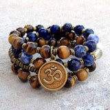 Bracelets - Tigers Eye, Sodalite And Quartz 54 Bead Mala Necklace Or Bracelet