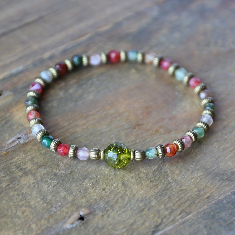 "Bracelets - Tourmaline Agate And Peridot Fine Faceted ""Good Luck"" Bracelet"
