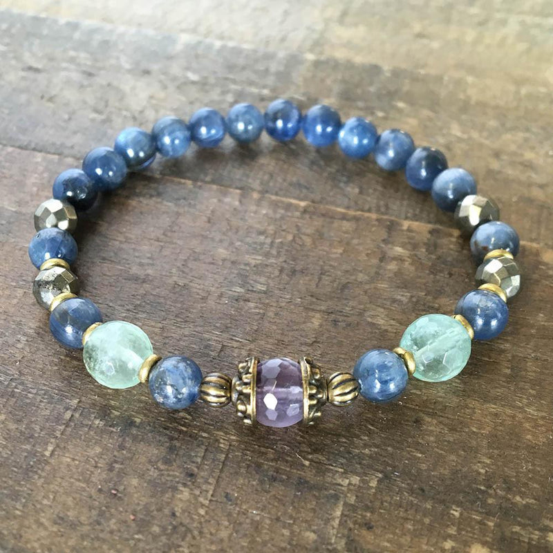 Bracelets - Tranquility And Protection, Kyanite And Fluorite Bracelet