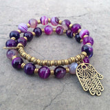 Bracelets - Transformation, Purple Agate 27 Bead Mala Wrap Bracelet