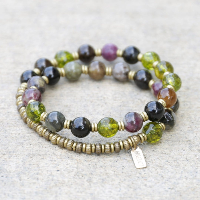 Bracelets - Watermelon Tourmaline And Peridot Mala Bracelet
