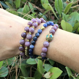 'Calm And Peace' Lepidolite And Sodalite Mala Bracelet Stack