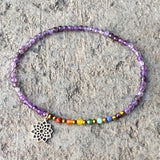 Crown Chakra Anklet, Chakra Gemstones And Amethyst Anklet