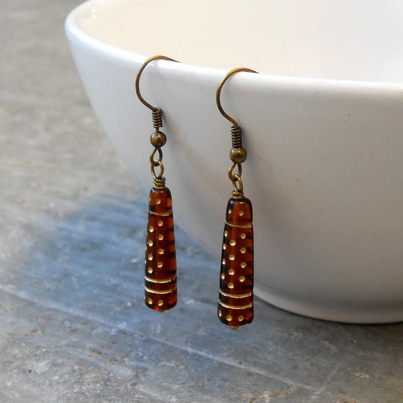 "Earrings - ""Amber"" Dark Brown Vintage Glass Earrings"