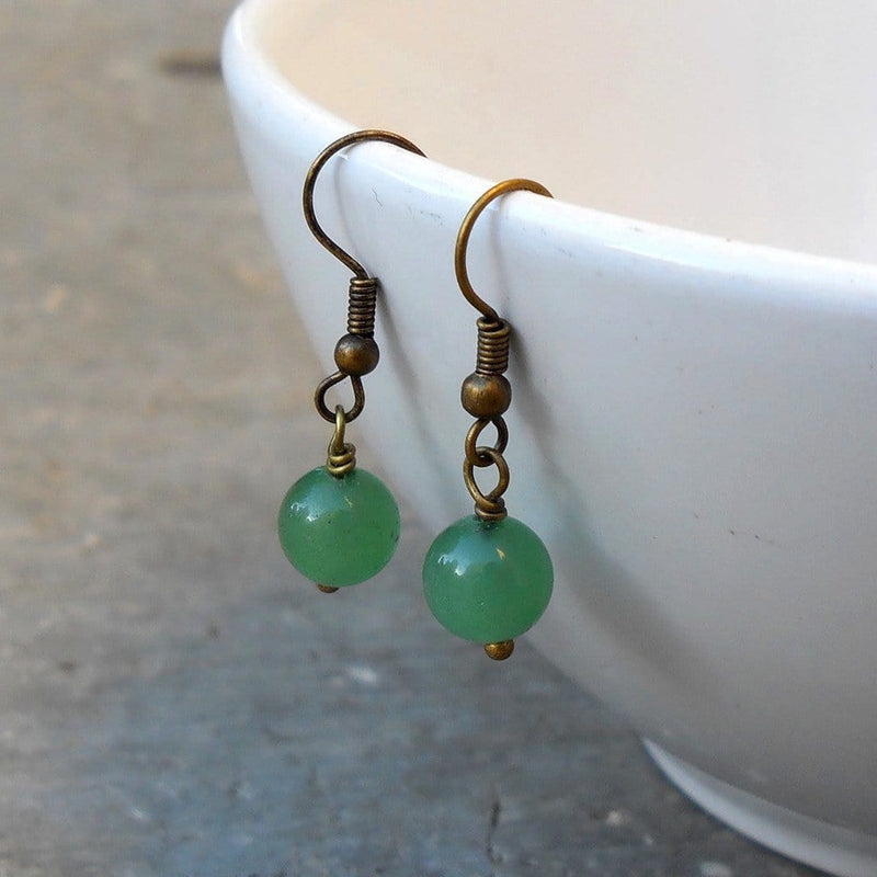 Earrings - Balance, Genuine Aventurine Gemstone Earrings