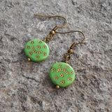Earrings - Bohemia- Cool Green Hand Painted Colored Glass