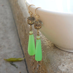 Earrings - Boho Chic Jade Vintage Glass And Crystal