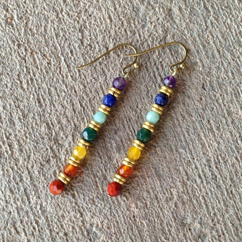 Earrings - Chakra Gemstone Fine Faceted Earrings