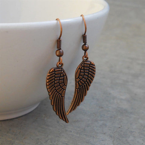 Freedom, copper wing earrings