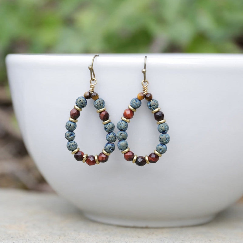 Earrings - 'Grounding' Red Tiger's Eye Aromatherapy Earrings