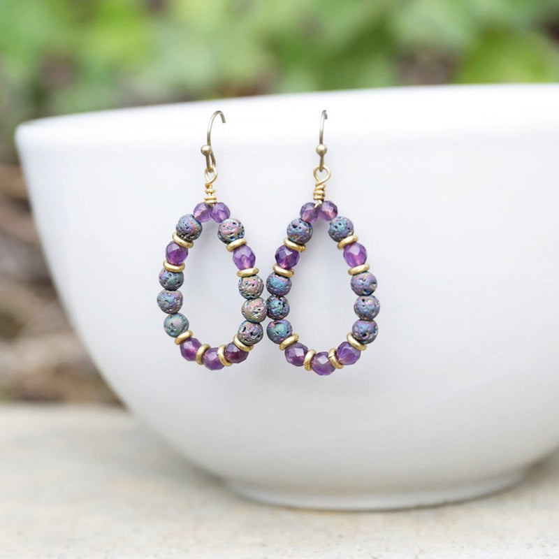 Earrings - 'Healing' Amethyst Aromatherapy Earrings