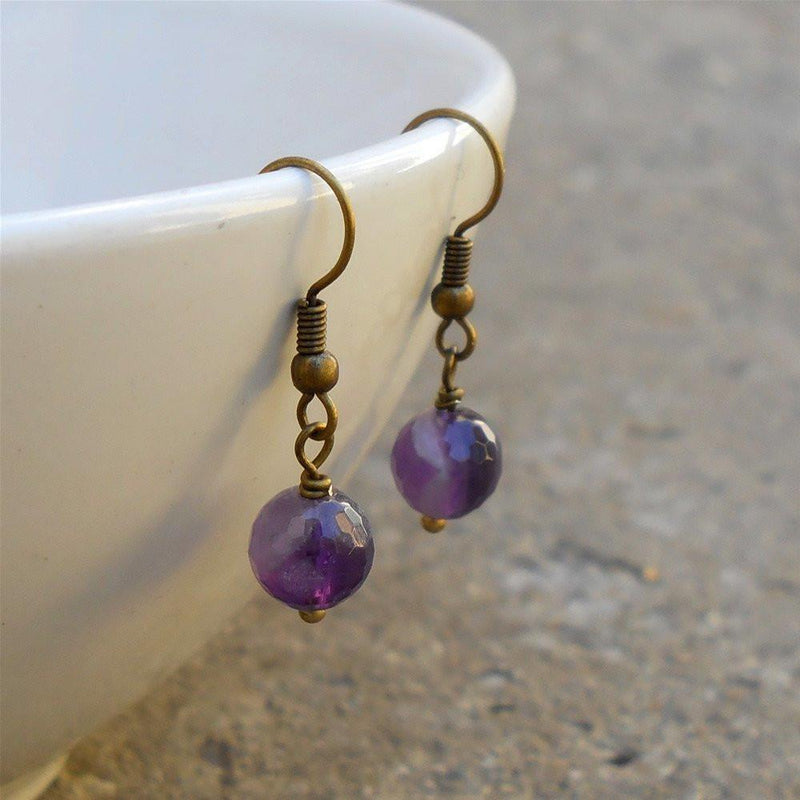 Earrings - Healing, Genuine Amethyst Gemstone Earrings