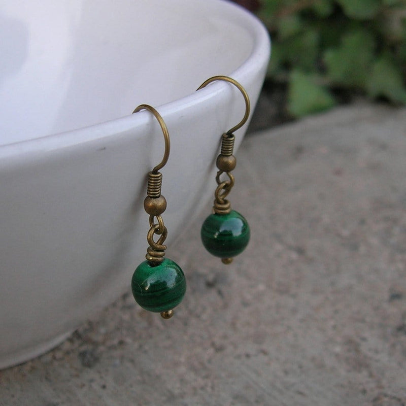 Earrings - Intuition, Genuine Malachite Gemstone Earrings