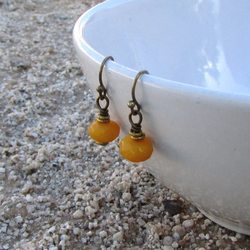 Earrings - Joy, Genuine Yellow Jade Faceted Earrings