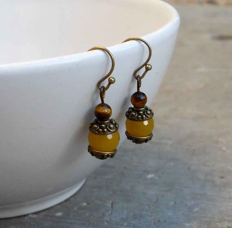 Earrings - Joy, Genuine Yellow Jade Gemstone Earrings