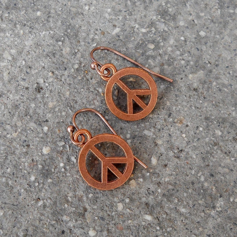 Earrings - Peace, Copper Peace Sign Earrings