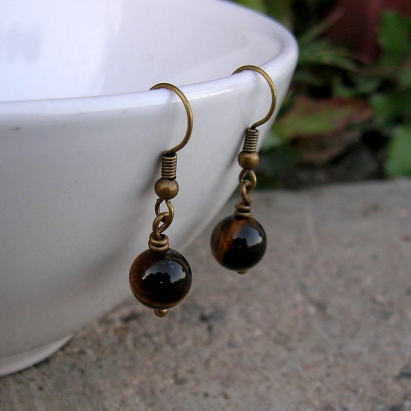 Earrings - Prosperity, Genuine Tiger's Eye Gemstone Earrings