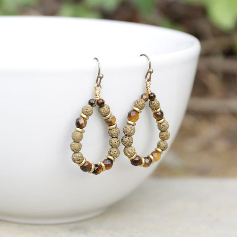 Earrings - 'Prosperity' Tiger's Eye Aromatherapy Earrings