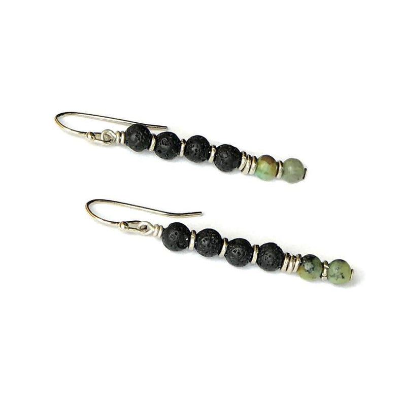 Earrings - Throat Chakra Aromatherapy Earrings With Lava Rock And African Turquoise